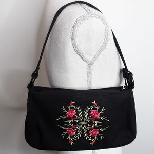Fossil Rose Bouquet Embroidered Baguette EUC